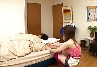 Petite asian gf wakes bf up with a handjob - 8 min HD