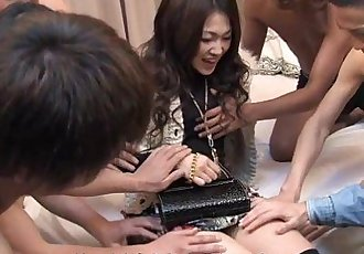 Slutty ass Asian babe has a gang banging session - 1 min 6 sec