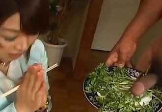 Mitsu Anno gets cock deepthroat and cum in mouth in food fetish - 11 min