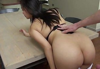 busty asian 18yo fucked on table and facial - 2 min