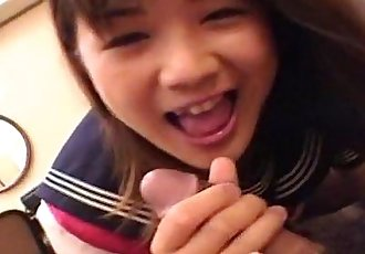 Tender Japanese teen gobbles a stiff dong - 8 min