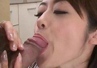 Japanese slut Maki Hojo sucks big cocks like a super whore - 5 min
