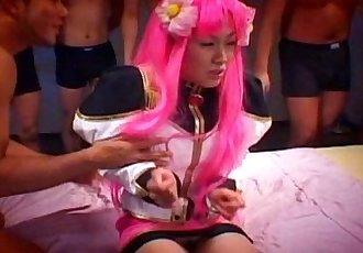 Horny Kao Sugimori receives a massive cum facial - 5 min