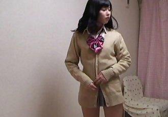 WEBCAM Yurina is change into uniform miniskirt - 49 sec