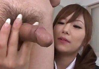 Miku Airi Asian schoolgirl blows a big dick - 12 min