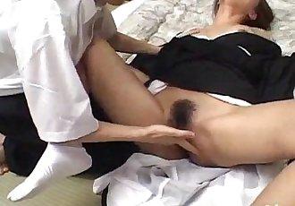 Nana Nanami gets cum on ass cheeks from sucked dicks after fuck - 10 min