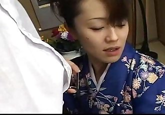 Mai Satsuki is a great geisha in a kimono that satisfys both of her businessmen - 6 min