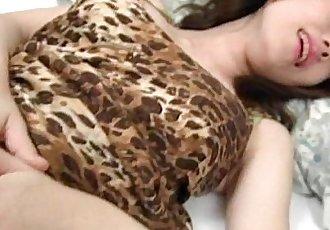 Lovely jap brunette tickled and finger teased in her little slit - 5 min