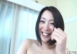 Pale Japanese AV star shows big butt and pubic hair subtitled - 5 min