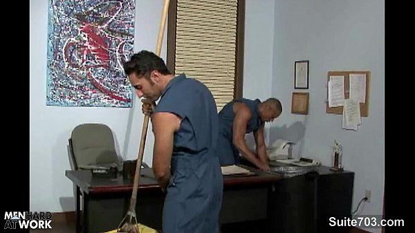 Gay cleaning guys fucking in the officeHD