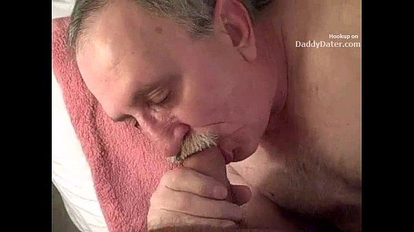 Hairy Hung Silverdaddy Grandpa Sucking my Uncut Cock