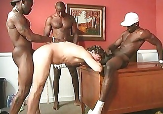 A black teacher and two black students sharing a white guyHD