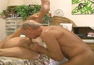 Muscle Daddy Rich Getting His Chubby Friend Eric Off