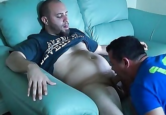 Sucking a delicious thick curved cock