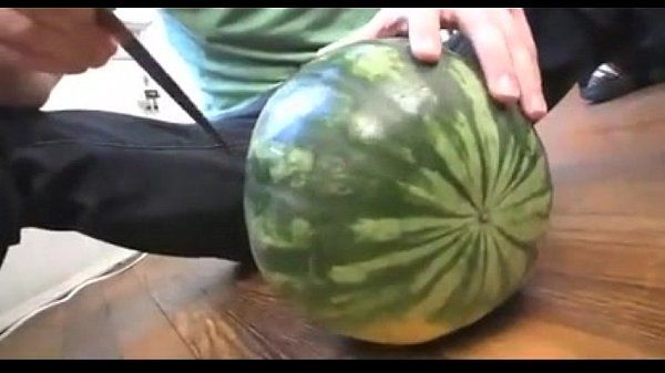 fucking a melon and jerking off