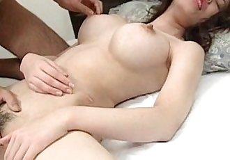 Erotic Japanese girlfriend boob sucked and twat fingered - 5 min