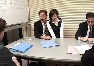 Lady Shino gets to suck off some cocks at the meeting - 58 sec