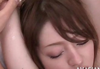 Slowly oiled massage ends with deep fingering - 5 min
