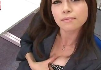 Office bimbo, Maki Hojo, plays with her fanny - 12 min