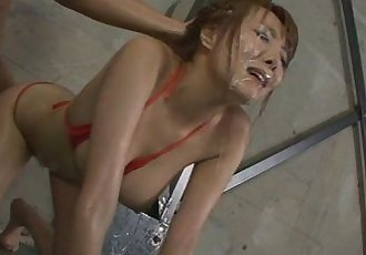 Filthy babe in tight red bikini sucking random poles and dildo fucked - 8 min