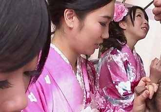 Three geishas sucking on one lonely cock - 8 min HD+