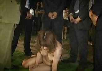 The initiation masters are groping and pissing on the Asian slut - 7 min