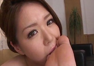 China Mimura gives a great rim job before sucking a cock and eating cum. - 5 min