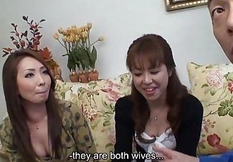 Two Asian floozies getting creamed in a threesome - 56 sec