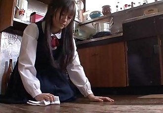 Asian housekeeper gets fucked and creamed by the fellas - 57 sec