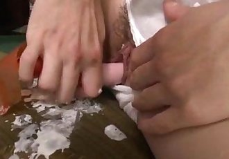 Hot momAoba Itou kneels to suck on a younger cock - 12 min