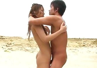 Sex on the beach with young angel Yui Nanase - 12 min