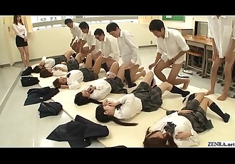 JAV synchronized schoolgirl missionary sex led by teacher 5 min