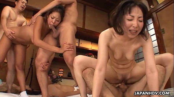 Full on orgy brakes out as the Asian babes get fucked