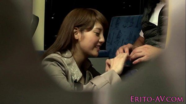 Asian babe wanks and facialized on public bus HD
