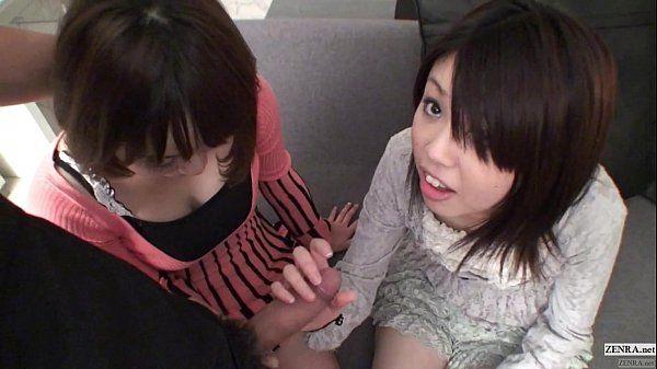Subtitled Uncensored POV Japanese CFNM threesome blowjob in Full HD HD