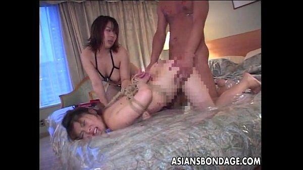 Japanese slavegirl fucked in a BDSM threesome