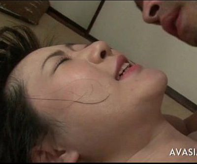 Asian babe on her back and takes a fat cock in asshole - 6 min