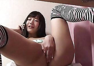 Japanese Teen Ai Hoshina Telephone Call Masturbation 3 min HD