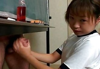 Japanese cutie Itsuki Wakana wanks a hard dick uncensored - 6 min