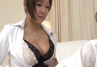Naughty Hiyoko Morinaga uses her tits to stroke the cock - 12 min
