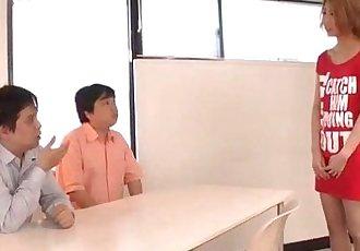Kanako Kimura provides blowjob on two big cocks - 12 min
