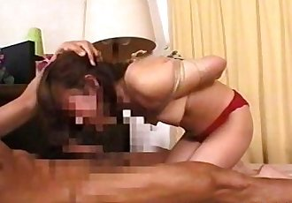 Japanese girl tied up and munching on a stiff cock - 8 min