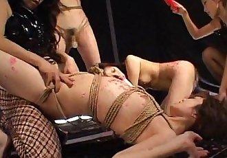 Asian freak fest with roped up waxed sluts - 8 min