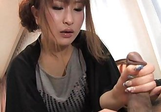 She gets turned on to wank his cock off - 47 sec