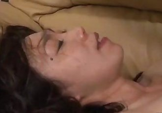 Milf With Hairy Pussy Riding On Young Guy Face And Cock Facial On The Couch In T - 8 min