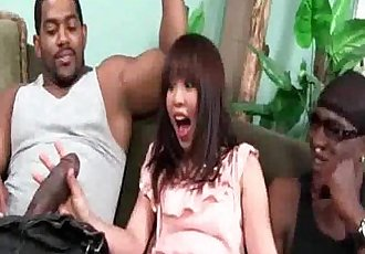 Asian Suck a Pair of Hung Black Men - 5 min