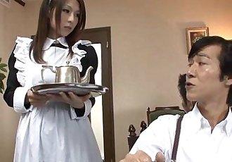 Asian maid sucking a cock then gets a facial - 58 sec