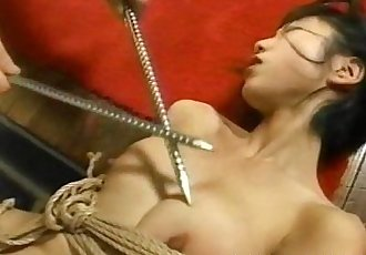 Two Asian bitches are tied up poked and proded - 7 min