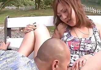 Asian model babe fingered in public on park bench - 6 min