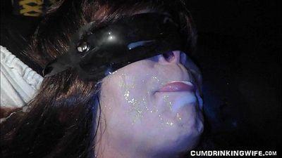 Hot wife eats cum from 30 men - 6 min HD